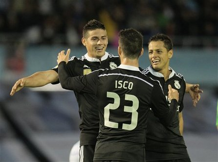 80df33634 Javier Hernandez scored twice as Real Madrid fought back for a thrilling  4-2 win at Celta Vigo on Sunday to keep the pressure on Spanish league  leader ...